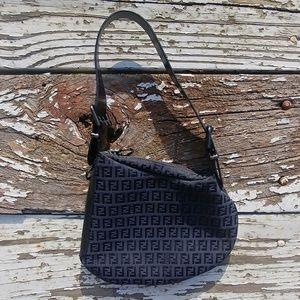 Authentic Fendi Black Zucchino Oyster Bag EUC